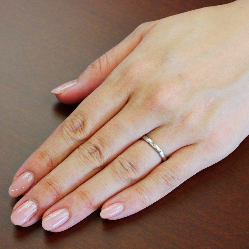 結婚指輪No1 女性用 プラチナ ハンマー・槌目