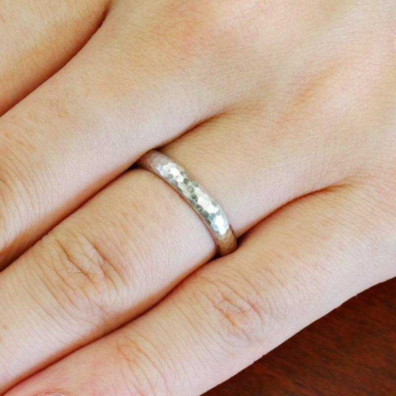 結婚指輪No1 男女兼用 プラチナ ハンマー・槌目