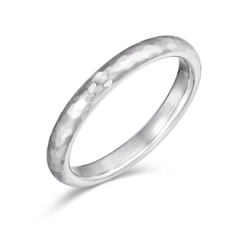 結婚指輪No1 女性用 プラチナ ハンマー・槌目(幅2.5mm / Pt950)