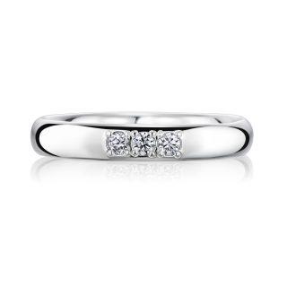 結婚指輪No1 3.0 ダイヤモンド 3個 プラチナ 前幅