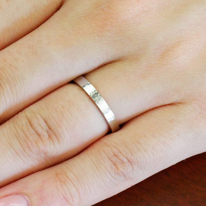 結婚指輪No2 女性用 プラチナ ハンマー・槌目