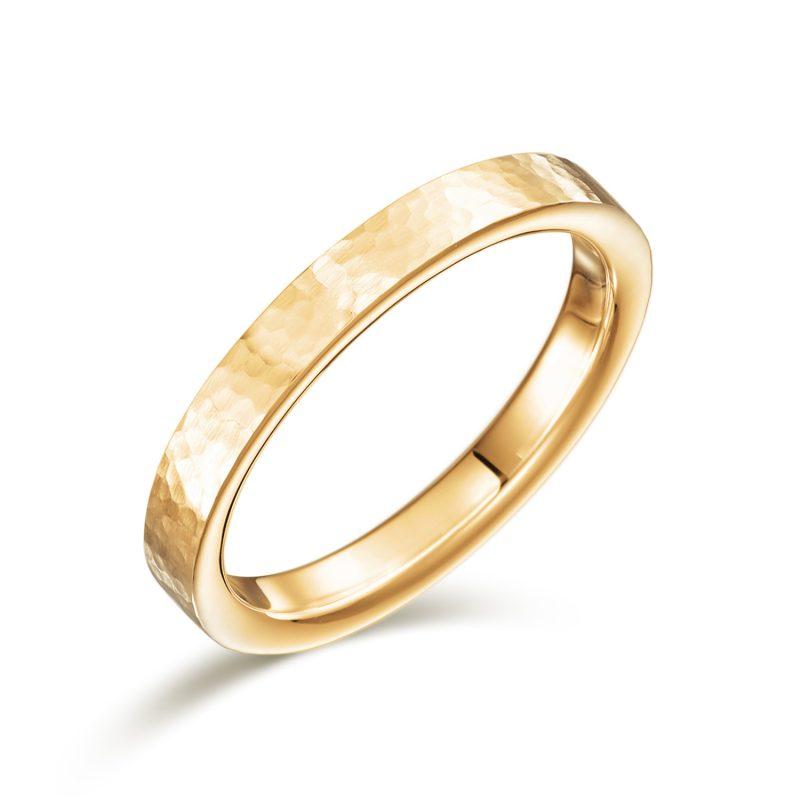 結婚指輪No2 女性用 ゴールド ハンマー・槌目(幅2.5mm / K18)