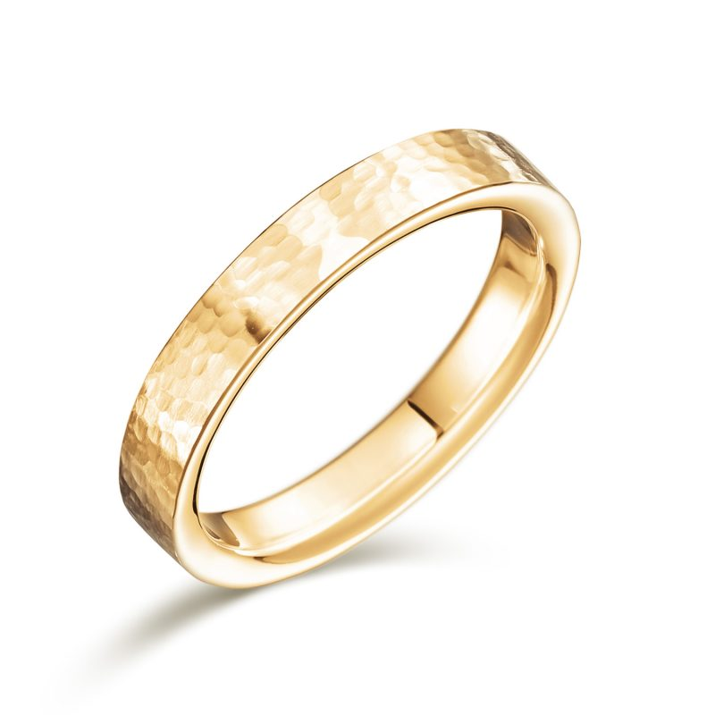 結婚指輪No2 男女兼用 ゴールド ハンマー・槌目