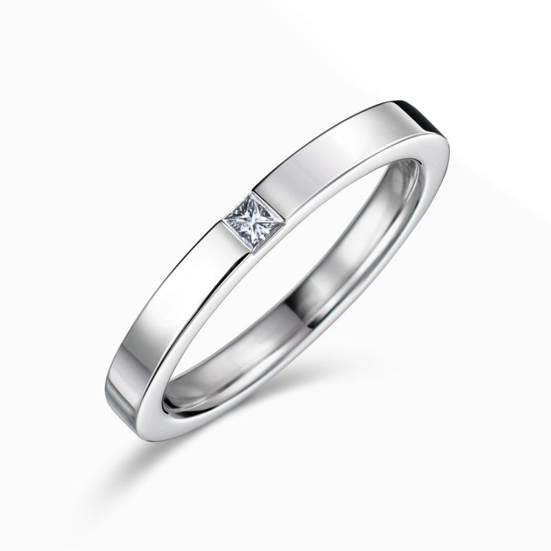 プリンセスカット 結婚指輪 0.04ctダイヤモンド プラチナ