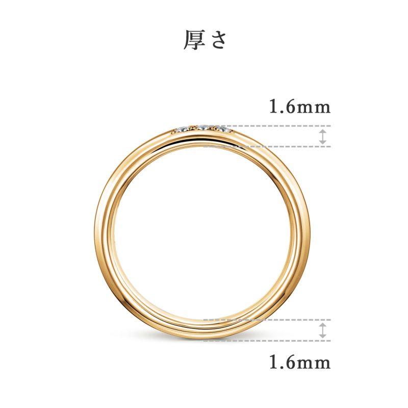 結婚指輪 2.5 ダイヤモンド 3個 ゴールド 後幅