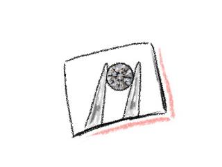 ピンセットでダイヤを持っているイラスト