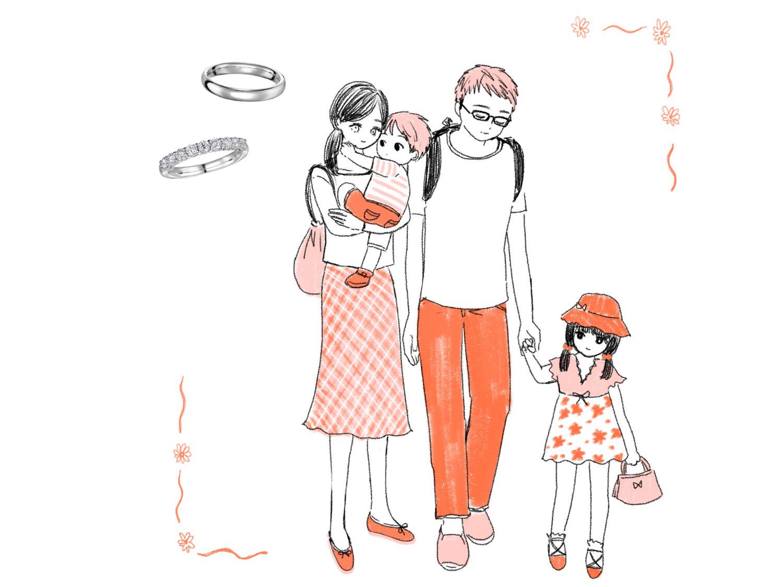 仲の良い夫婦と子供のイラスト