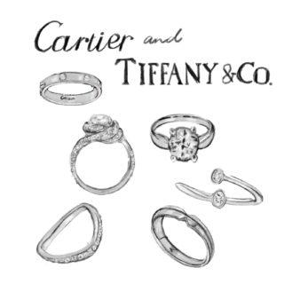 カルティエとティファニーの婚約指輪のイラスト
