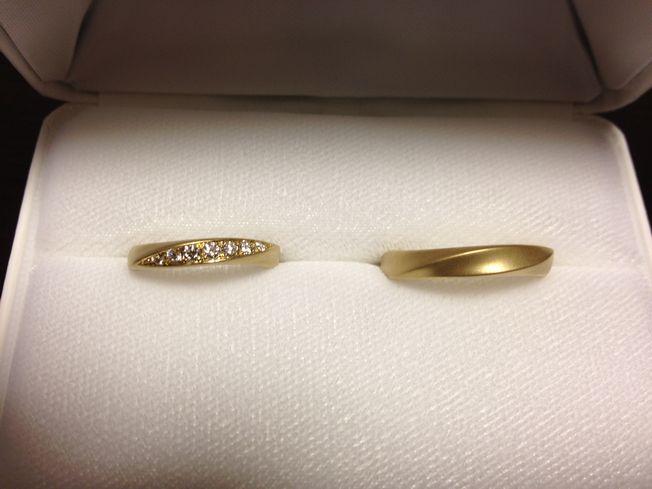 K18(6:4)イエローゴールド ツヤ消し(マット仕上げ)の結婚指輪No3
