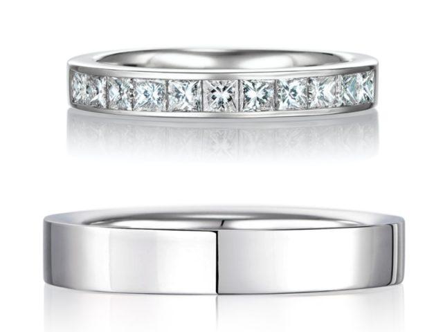 プリンセスカット レール留め 0.50ctダイヤモンド プラチナ