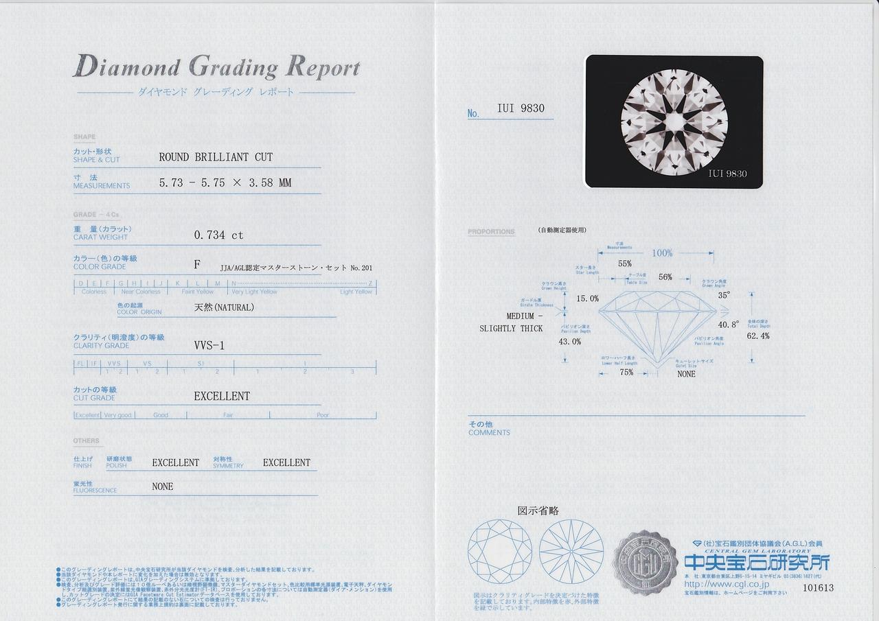 中央宝石研究所(CGL) ダイヤモンド 鑑定書 全体像