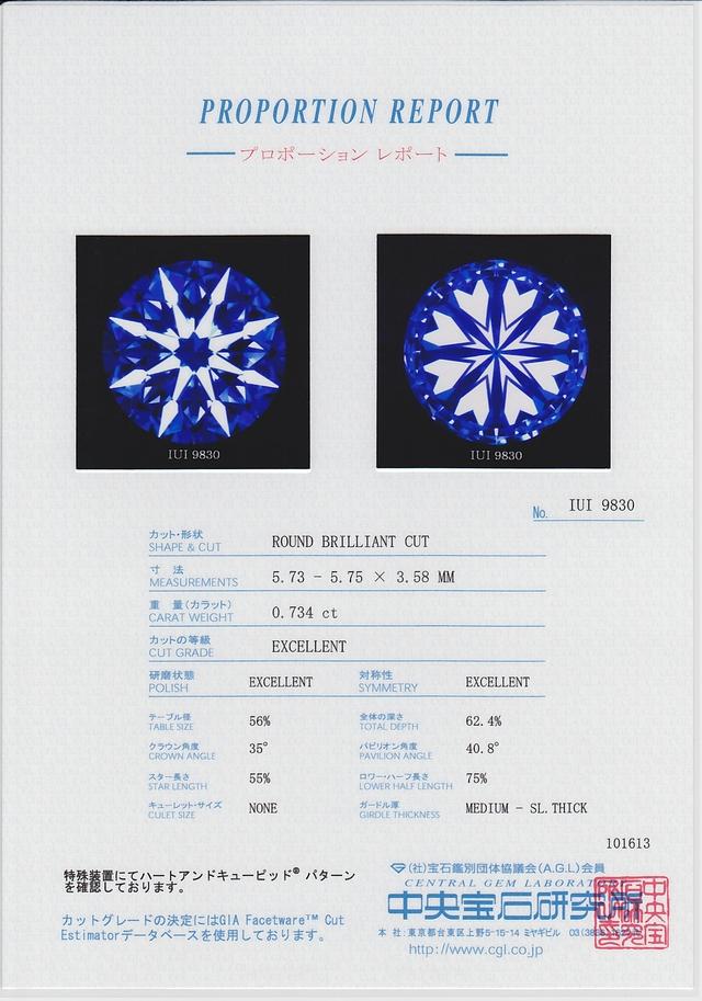 中央宝石研究所(CGL) ダイヤモンド ハートアンドキューピッド