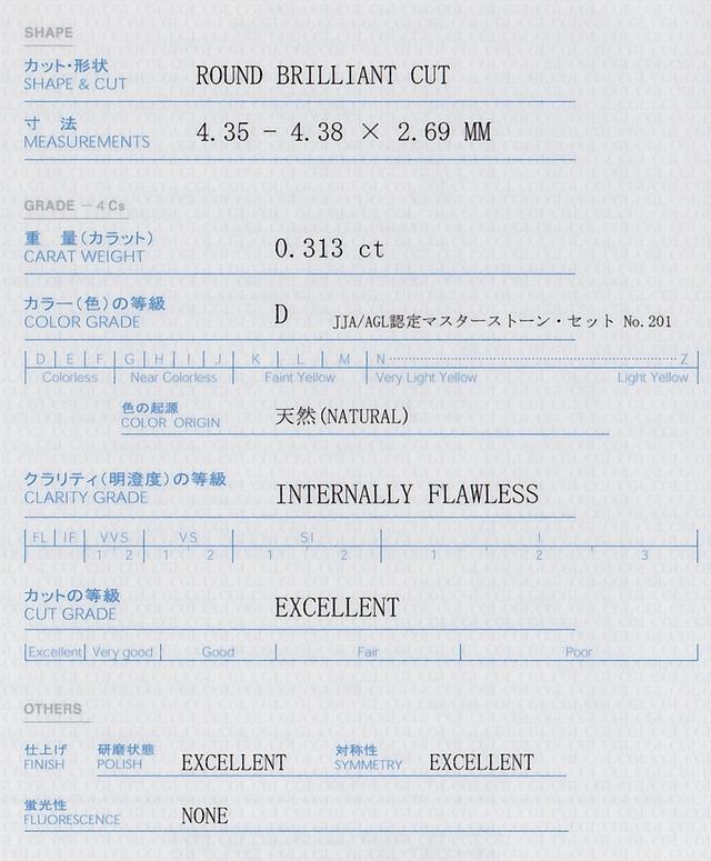 ダイヤモンド IF インタナリーフローレス 鑑定書