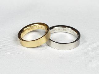 神奈川県横浜市のT様。イエローゴールドとプラチナのペアリング。幅4.0ミリ、鍛造の結婚指輪
