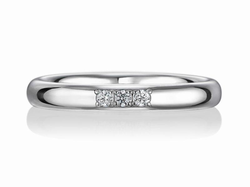 結婚指輪 幅2.5ミリ ダイヤモンド 3個
