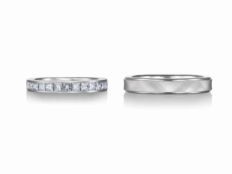 プリンセスカット エタニティリング 鍛造 結婚指輪
