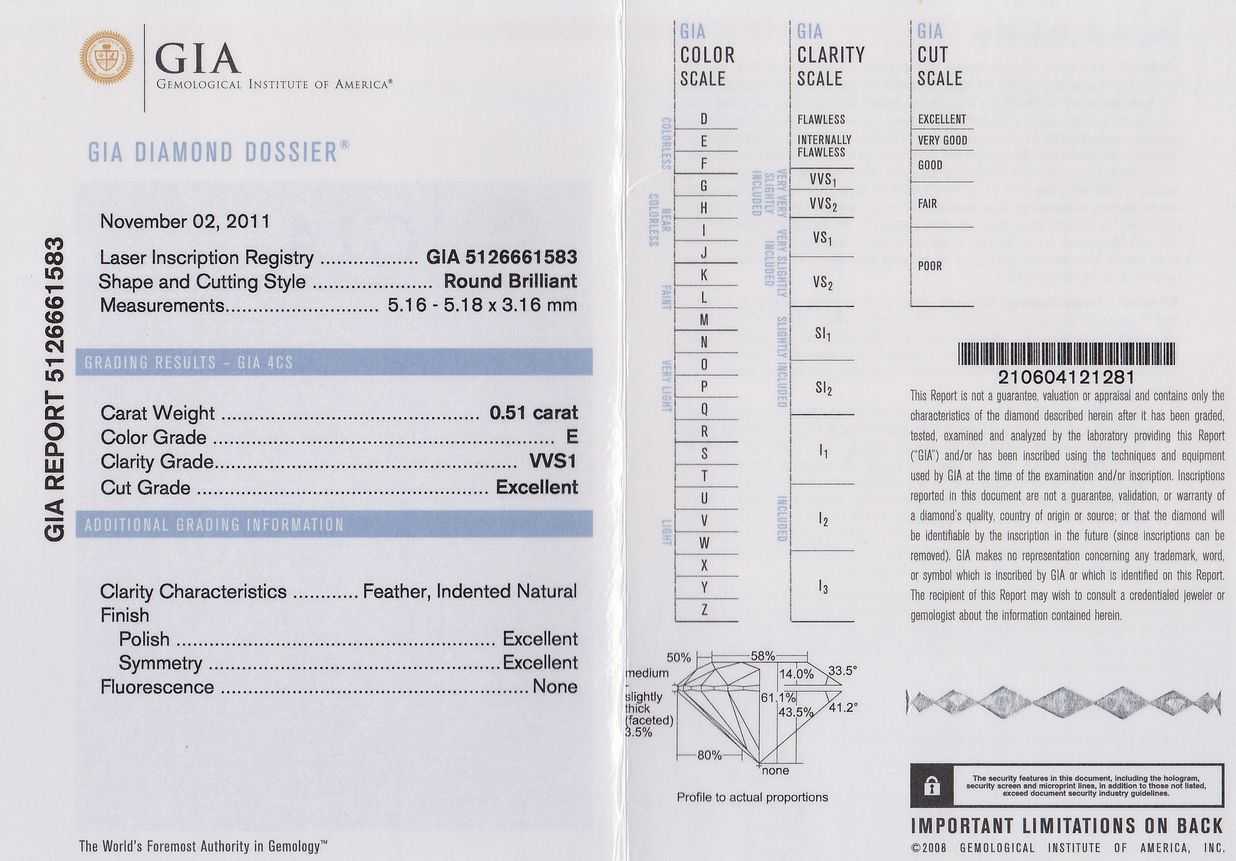 GIA 鑑定書 ダイヤモンド 0.51カラット E VVS1 3Excellent