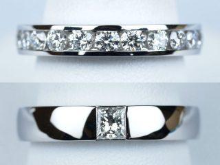 結婚記念日 10周年 東京都のお客様 合計0.97カラットのエタニティリング 0.33カラットのプリンセスカットを使った豪華な結婚指輪です。