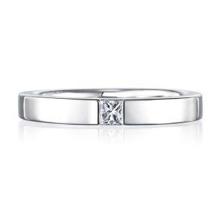 プリンセスカット 結婚指輪 0.08ctダイヤモンド プラチナ