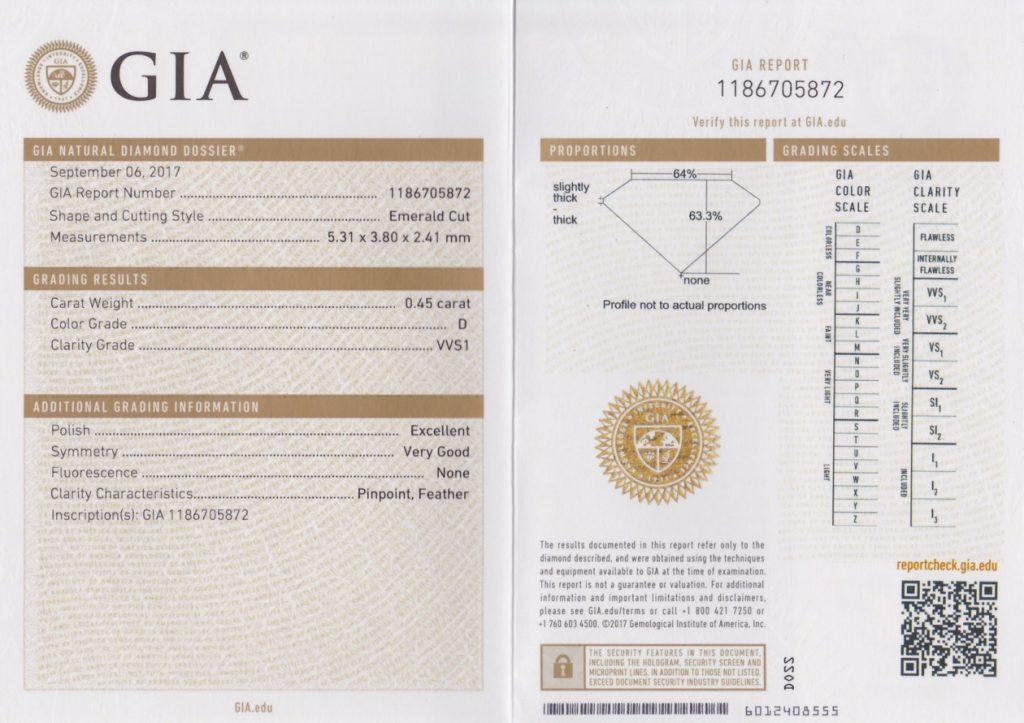 エメラルドカット ダイヤモンド 0.45ct D VVS1