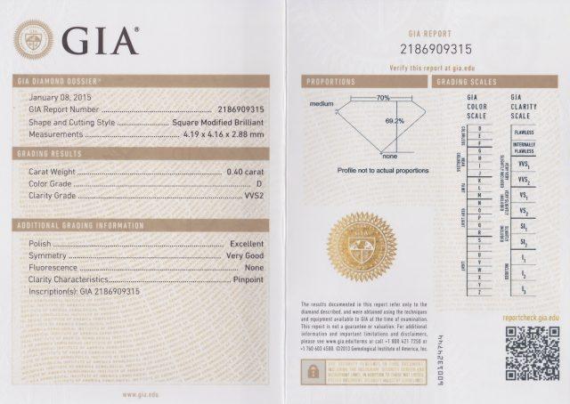 プリンセスカット ダイヤモンド 0.40ct D VVS2