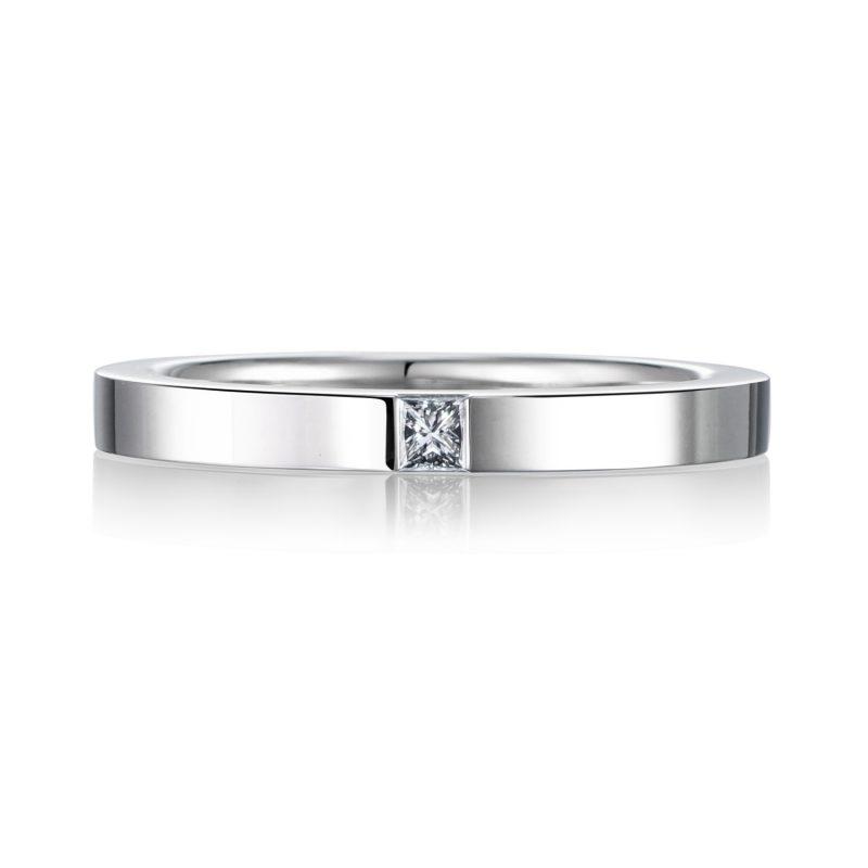 プリンセスカット 結婚指輪 0.04ct プラチナ
