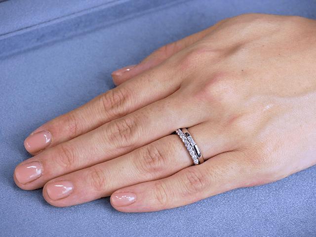結婚指輪No1 3Diamond 0.03ct プラチナ × エタニティリング No1 0.36ct プラチナ
