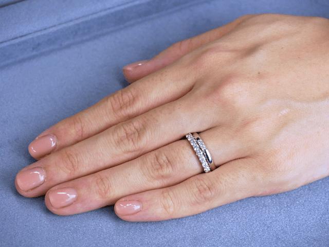 結婚指輪No1 3Diamond 0.03ct プラチナ × エタニティリング No1 0.52ct プラチナ