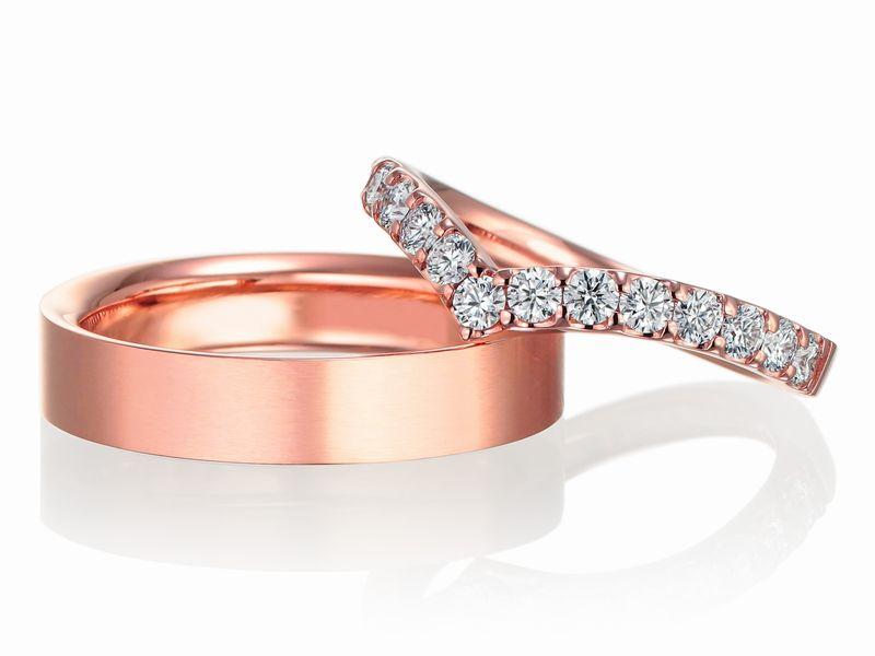 (左・男性用)結婚指輪 No2 幅4.0ミリ ヤスリ・ツヤ消し ピンクゴールド K18