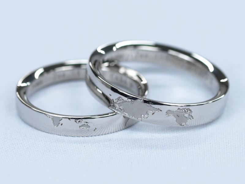 鍛造の結婚指輪(地図デザイン)