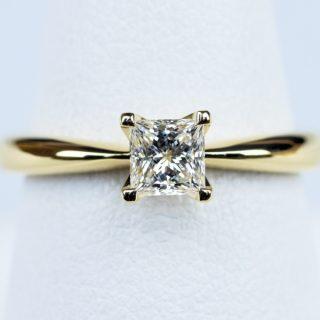 プリンセスカット 婚約指輪 0.3カラット