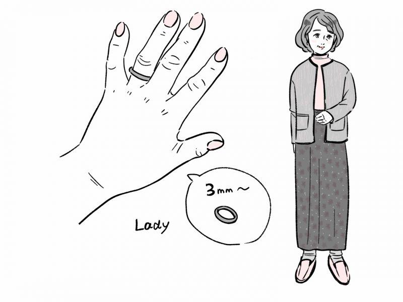 おばあさんに似合う指輪のイラスト 3mm