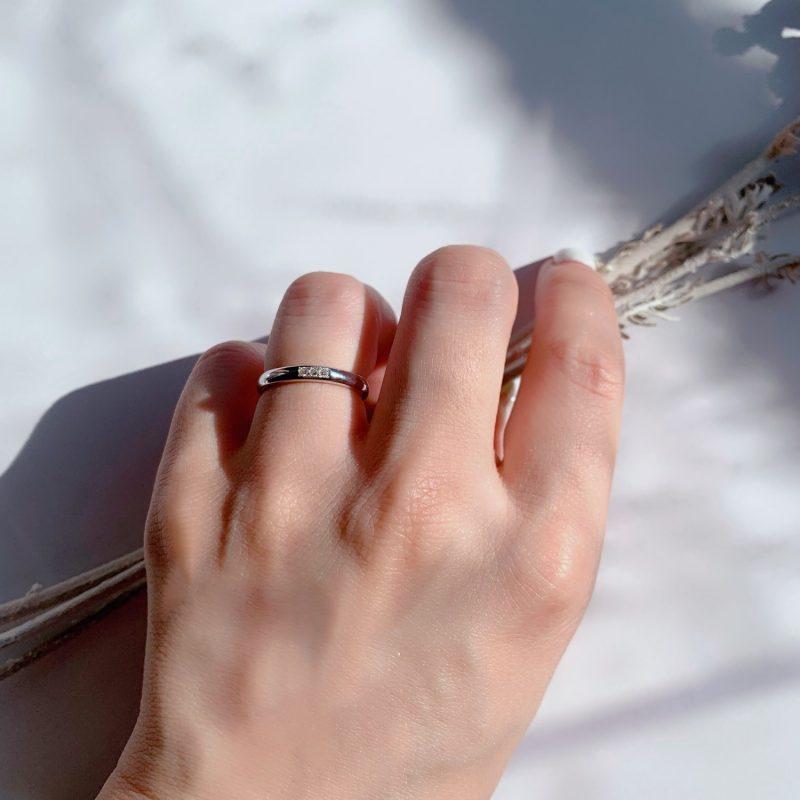 結婚指輪No1 3Diamond 0.03ct プラチナ(幅2.5mm / Pt950)