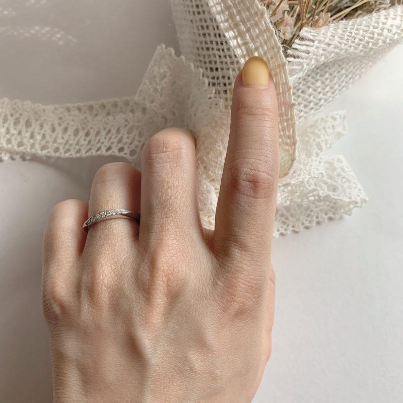 結婚指輪No3 Diamond 0.08ct プラチナ(幅2.5mm / Pt950)