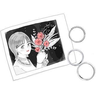 女の子の写真とエタニティリングと結婚指輪のイラスト アイキャッチ