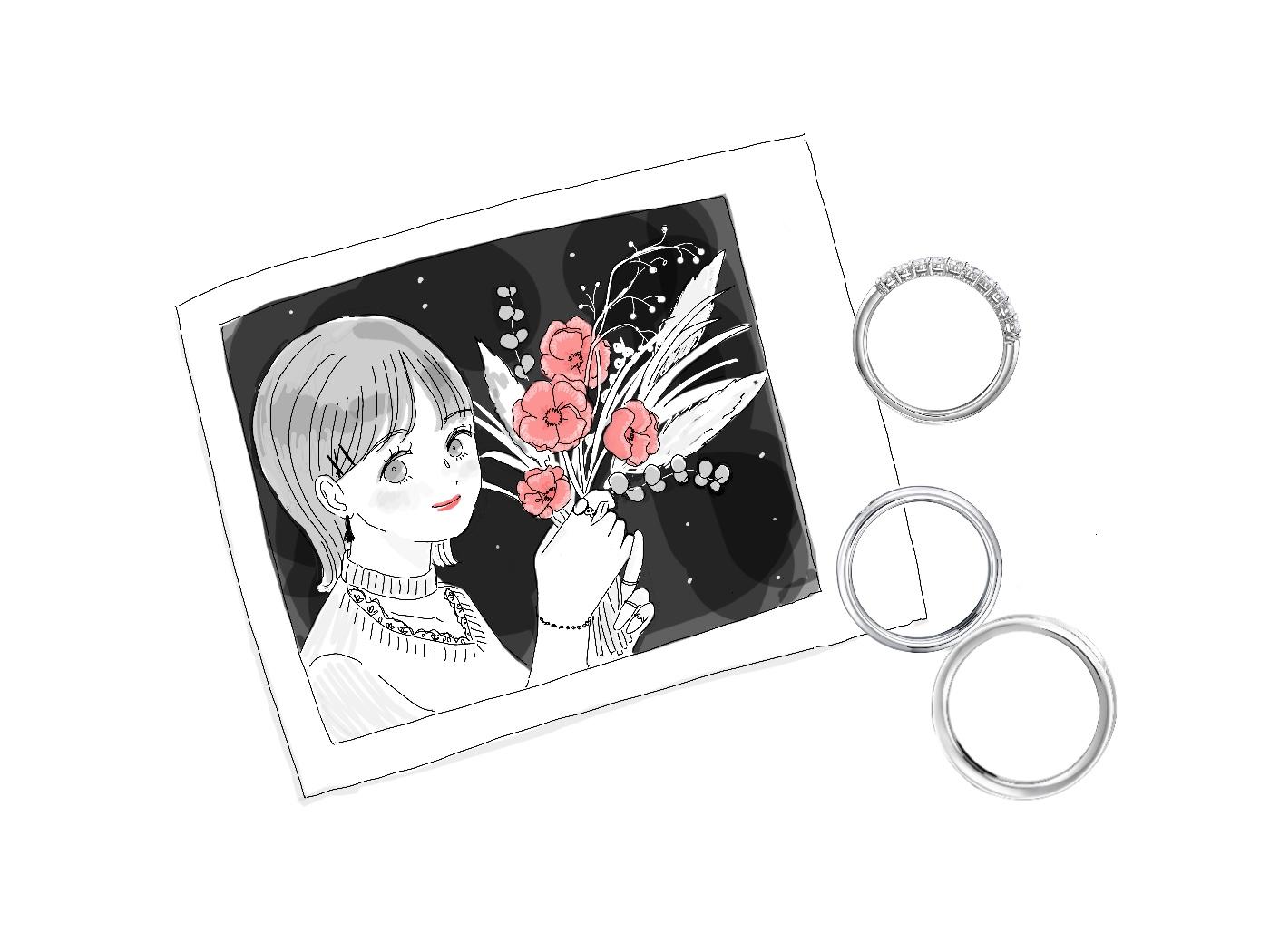 女の子の写真とエタニティリングと結婚指輪のイラスト 本文