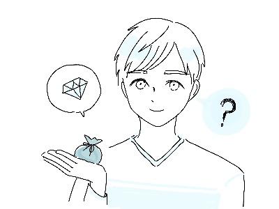 ダイヤモンドを持ち込みたい男性のイラスト