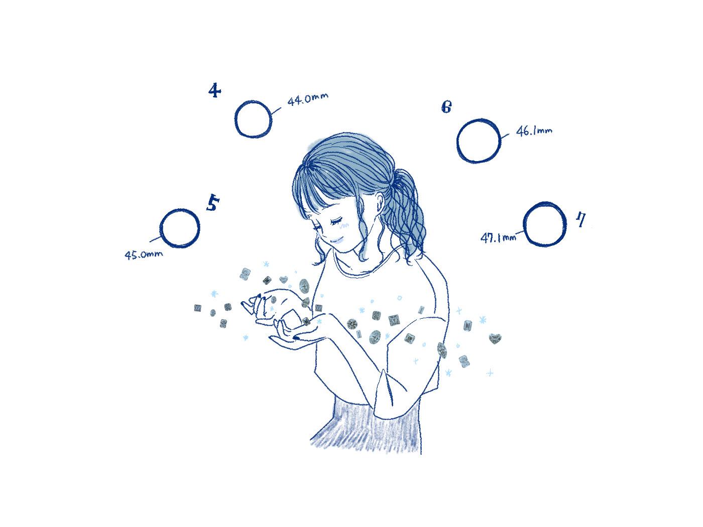 たくさんのダイヤを見る女性のイラスト