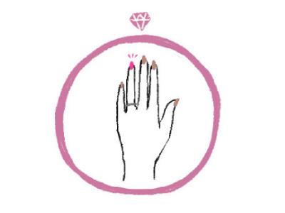 細い指と指輪のイラスト