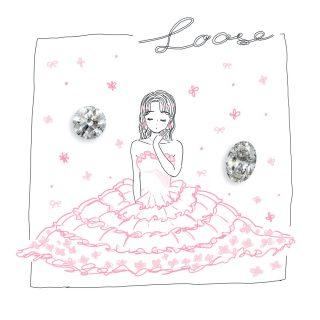 ルースとドレスを着た女性のイラスト