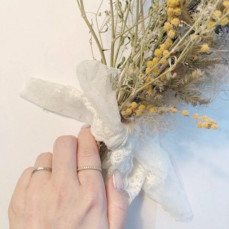 人差し指 Saint、結婚指輪No1 女性用 プラチナ ハンマー・槌目