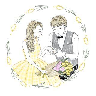 男性の指輪をつけてもらう女性のイラスト