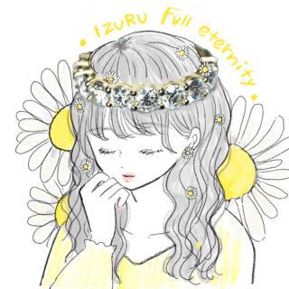 フルエタニティリングを花冠のようにかぶる女性のイラスト おやゆび姫