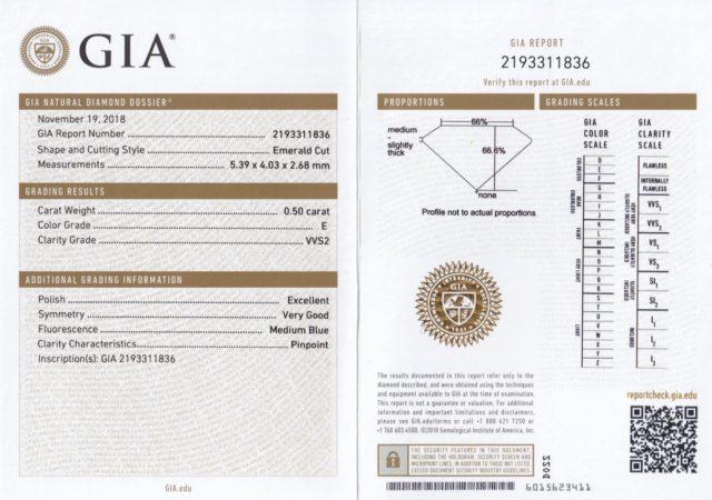 GIA 鑑定書 エメラルドカット 0.50ct E VS1
