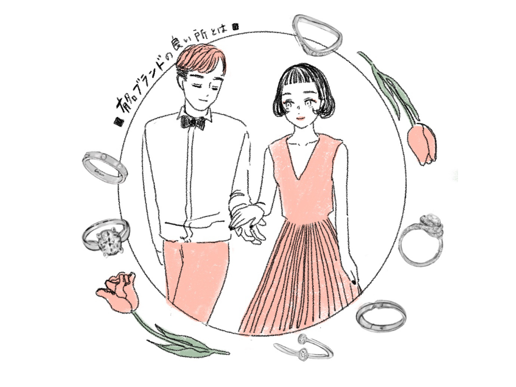ブランドの結婚指輪と婚約指輪の魅力についてのイラスト