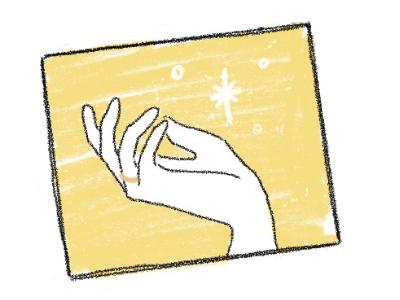 イエローゴールドの結婚指輪をする手のイラスト