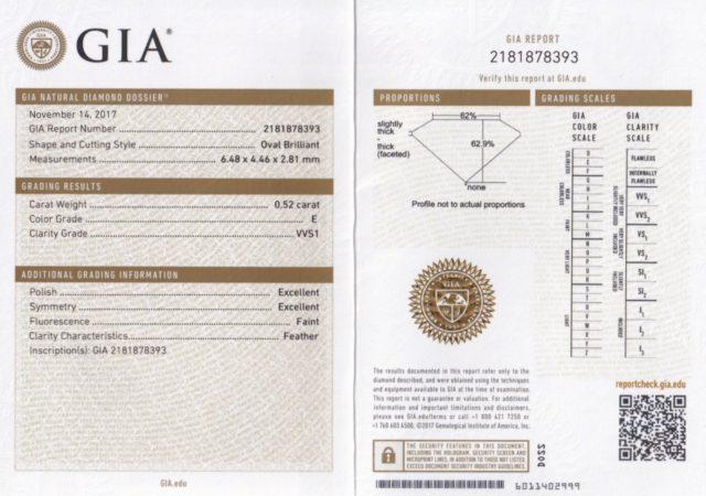 GIA 鑑定書 オーバルカット 0.52ct E VVS1