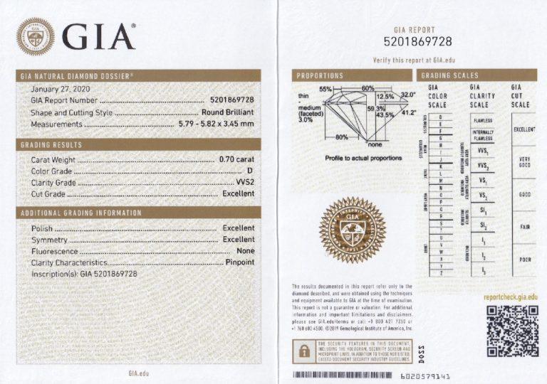 GIA 鑑定書 ダイヤモンド 0.70ct D VVS2 3Excellent