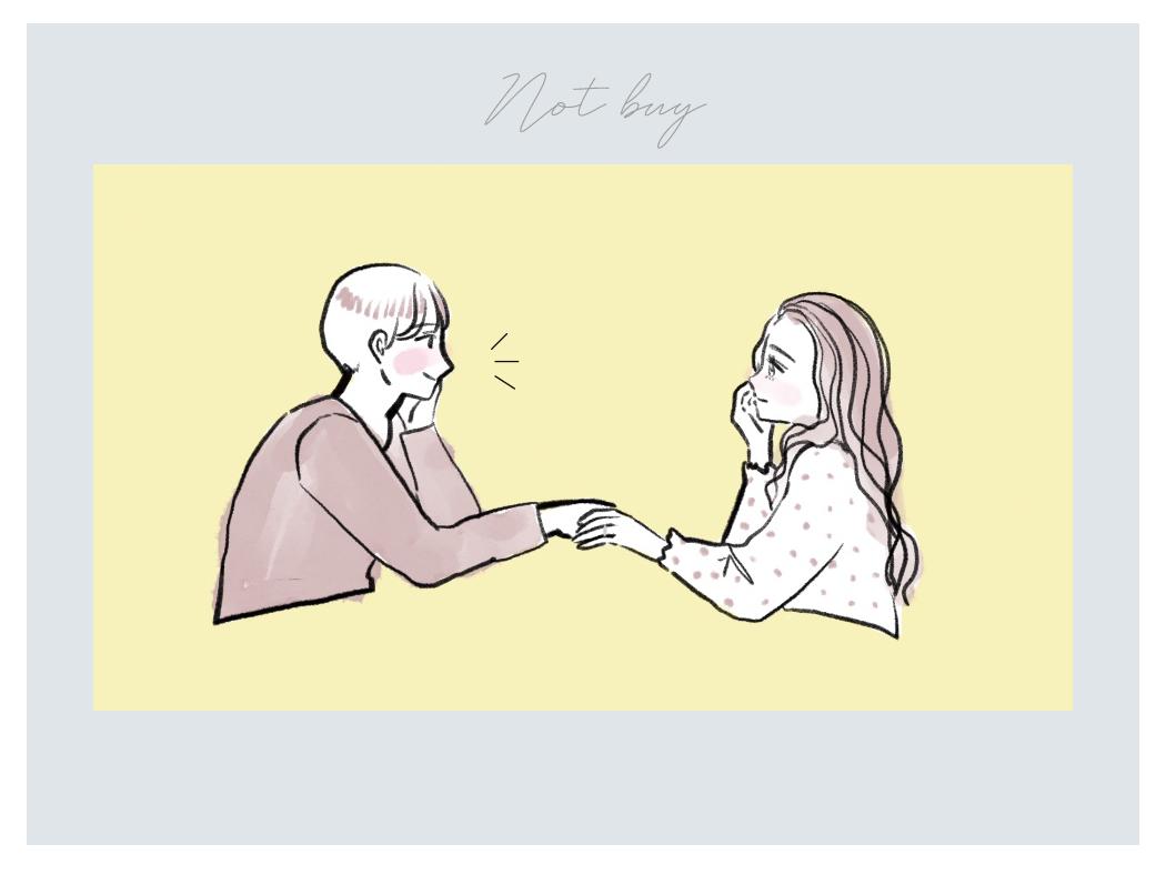 婚約指輪を買わない男女のイラスト
