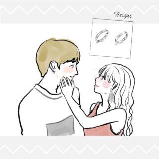 仲良しの男女のイラスト 結婚指輪